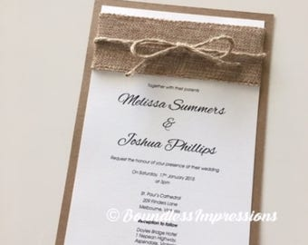 Melissa 'Burlap' Wedding Invitation SAMPLE