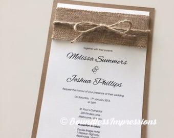 Melissa 'Burlap' Wedding Invitation SAMPLE