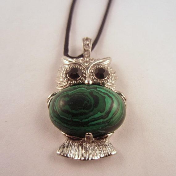 Owl Pendant Necklace Malachite : Natural Crystal Pendant, Stone Jewelry