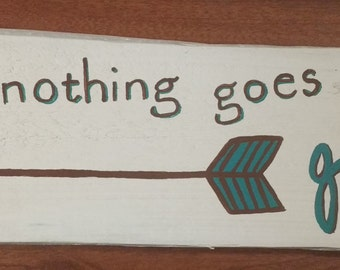 When nothing goes right... go left - Hand painted pallet wood sign