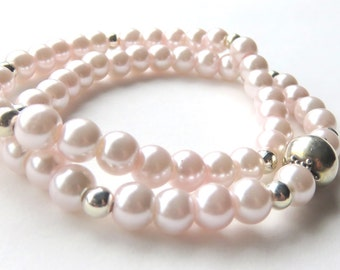 Pink Pearl Stretch Bracelet Set, Dainty Bridesmaid Bracelets, Junior Bridesmaid Jewelry, Pastel Pink and Silver, Wedding Party Bracelets