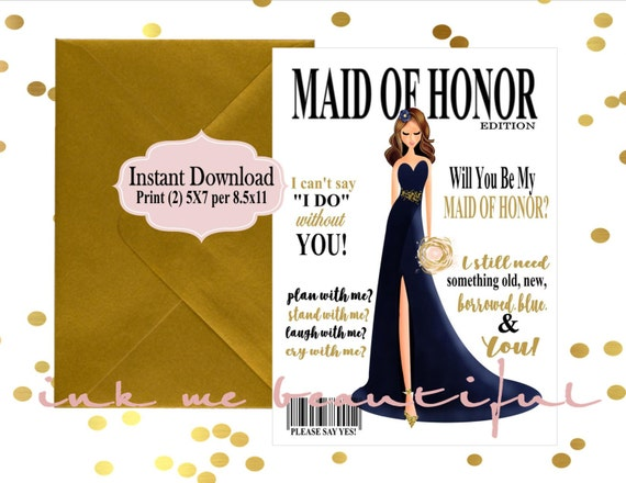 Honor Or Honour On Wedding Invitations: PRINTABLE Will You Be My Maid Of Honor, Bridal MAGAZINE