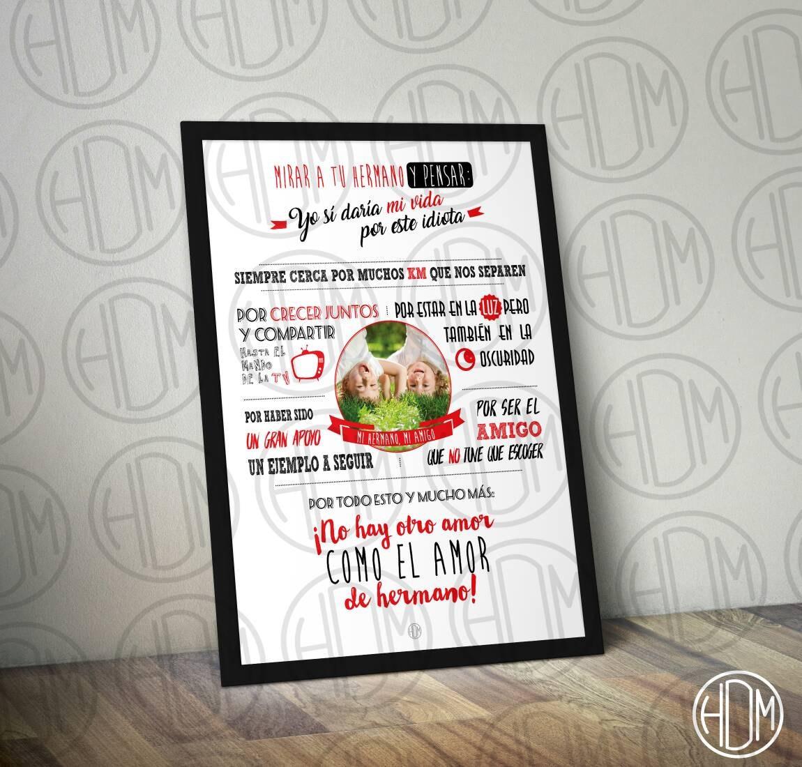 L mina decorativa regalo hermanos personalizada boda marco for Regalos para hermanos en boda