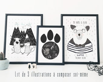 Pack of 3 posters - composed by yourself - Black & White - Kid's wall decoration