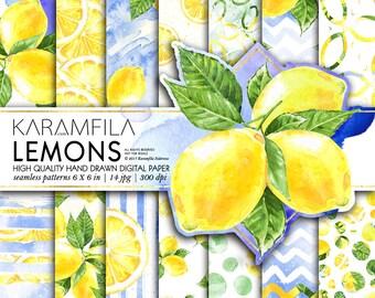 Lemons Digital Paper Summer Paper Watercolor Fruits Patterns Lemonade Watercolor Lemons Paper Tropical Fruits Planner Stickers Scrapbook DIY