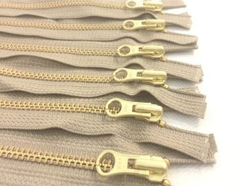 1 YKK Zipper 16 Inch Brass #5MM Open Bottom Dark Beige Tape (1 zipper)