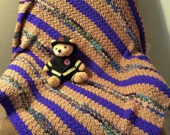 PURPLE/BEIGE Crochet Afghan Blanket