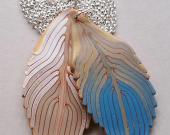 Blue Polymer Clay Feathers Necklace (#0006)