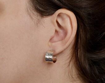 Sterling silver hoops, hammered earrings, small studs, wide hoops, simple hoop, plain earring, minimal hoops, thic hoop.