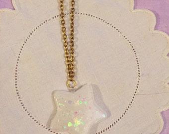 Cute Kawaii Sparkly Star Resin Pendant Necklace