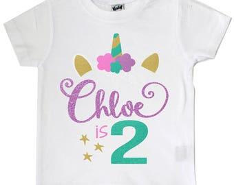 Unicorn, Glitter Unicorn, Baby Girl Shirt, Toddler Girl Shirt, First Birthday, Birthday Shirt, Baby Shower Gift, Custom, Personalized,