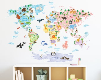 Decowall DLT-1615 Animal World Map Wall Stickers