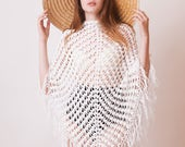 Boho crochet poncho, white cotton tunic, women knitwear, beach cover up, summer poncho, bohemian wrap, gift for her, OOAK, hippie style knit