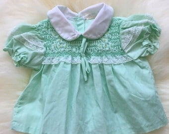 Vintage mint green newborn dress or toddler girl swing top