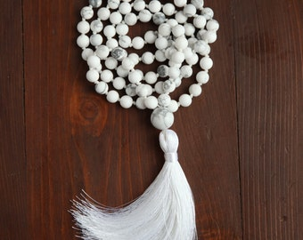 Howlite mala necklace / 108 Frosted Howlite bead necklace / Long white necklace / Hand knotted Howlite and tassel necklace