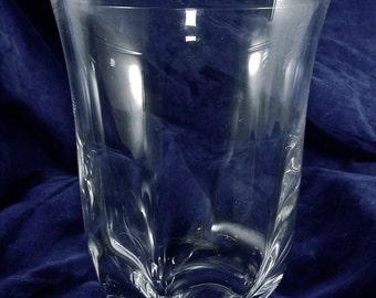 Midcentury Modern Swedish Crystal Vase designed by Edvard Hald, Art Glass Vintage Hand Made Blown Clear