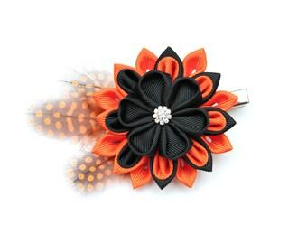 Black and orange Kanzashi  flower hair clip. Japanese hair clip. Kanzashi hair flower.  Japanese Fabric Flower Clip. Halloween kanzashi