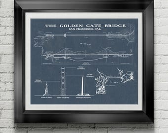 Golden Gate Bridge Historical California Poster Gift for Californian Pacific Coast Decor West Coast Artwork San Francisco Wall Art PP 9101