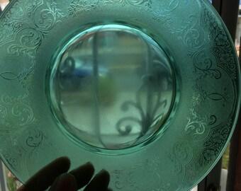 10 Vintage Vaseline Plates/ green plates/boho plates