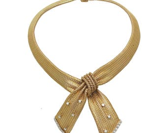 Vintage 18K Gold & Diamond Mesh Bow Form Necklace