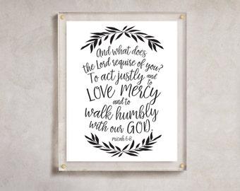 INSTANT DOWNLOAD Scripture verse print, Printable verses, Bible Quotes Wall Art, Home Decor, Micah 6:8, Printable Art