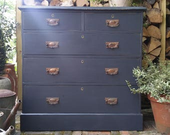 Handsome Vintage Victorian, Rustic, Shabby Chic, Painted Chest of Drawers, Storage