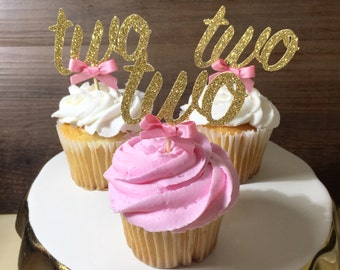 12 CT Two cupcake toppers, turning two, pink and gold birthday decorations