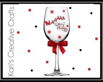 Christmas Wine Glass, Santa Wine Glass, Santa Sleigh Wine Glass, Holiday Wine Glass