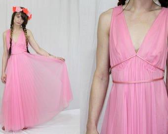 Vintage 70s PINK Chiffon Pleated Full Night Gown Retro Grecian BOHO Maxi Dress S