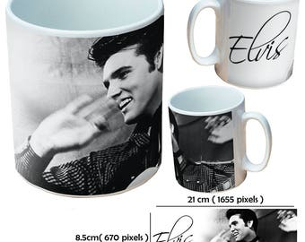 Elvis Presley King of Rock and Roll guitar sing picture mug cup as a special custom gift for a friend, family or colleague