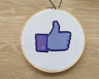 Facebook Like Button Cross Stitch Pattern. Social networking Cross Stitch. Modern Funny Hoop Art Wall Decor. FB Like. Instant PDF Download.