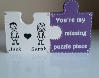 Personalised 2 Piece Jigsaw with saying of your choice. Any colour