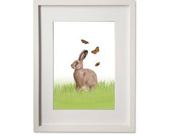 A4 Print - Hare & Butterflies