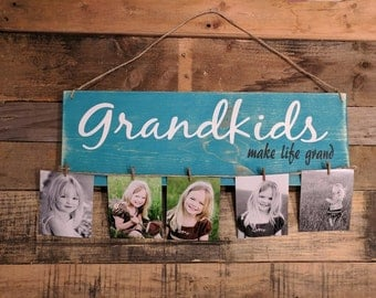 Grandkids wood sign and picture hanger