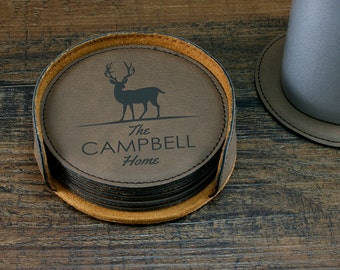 Personalized Deer Coaster Set, Customized Home Decor, Deer Decor, Engraved Coasters, Custom Coasters, Family Name Coasters, Deer Home Decor