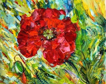 Original Oil Painting Flowers poppies , original paintings, contemporary Art, oil on canvas, the size of 19.7*19.7inch wall decor, gift.