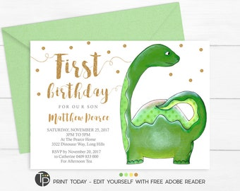 Dinosaur invitation instant download dinosaur party dinosaur first birthday invitation instant download boy 1st birthday invitations dinosaur 1st birthday solutioingenieria Images