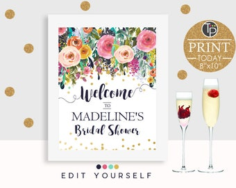 BRIDAL Shower Welcome Sign, Instant Download Baby Shower Welcome Sign, 10 x 8 Welcome Sign, High Tea, Brunch and Bubbly, Baby Shower Brunch