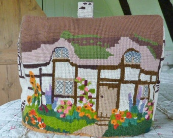 Tea Cosy, tapestry embroidered cottage, 1930's art deco era vintage cottage tea cosy, timber framed thatched cottage, hollyhocks, sunflowers