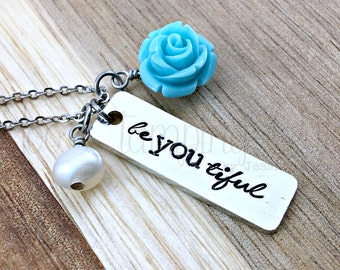 Beyoutiful | Beautiful Necklace | Be You Tiful | Inspirational | Self Esteem | With Confidence | Trendy Jewelry | Layered | Affirmations