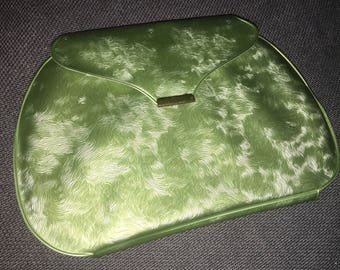 Vintage Finger Nail Care Case 1960s: Marbleized Swirled Green