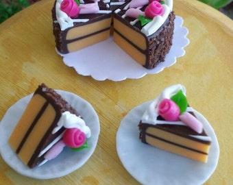 Fairy garden cake slices, miniature food, fairy cake, fairy food, Barbie cake slices, Barbie doll food, fairy garden food, Blythe doll cake