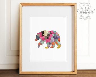 Mosaic bear print PRINTABLE art,abstract wall art,colorful wall art,nursery printable,bear silhouette art, last minute,printable decor