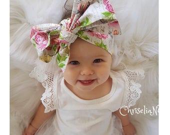 Paris Garden Headwrap, Baby Head Wrap, Garden Baby Head Wrap, Head Wraps, Baby Headwraps, Roses Baby Head Wrap