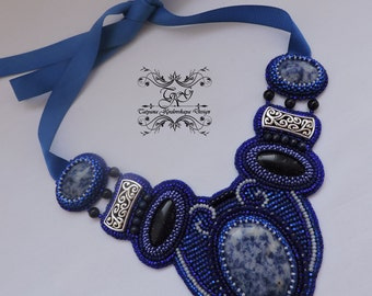 "Embroidered Beaded Necklace ""The Secret of the Ocean"""