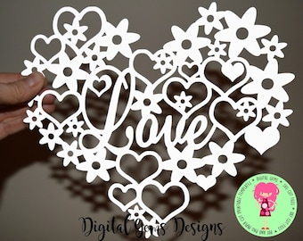 Love heart paper cut svg / dxf / eps / files and pdf / png printable templates for hand cutting. Digital download. Small commercial use ok.