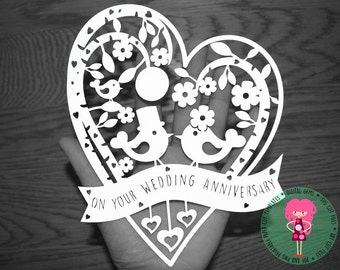 Anniversary paper cut svg / dxf / eps / files and pdf / png printable templates for hand cutting. Digital download.