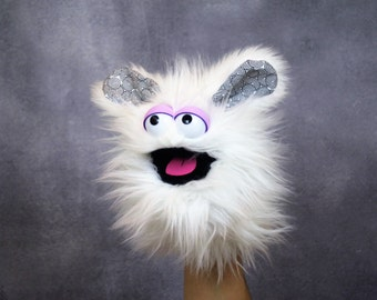 Hand Puppet - White Fluffy Puppet - Attachable/Interchangeable Parts!
