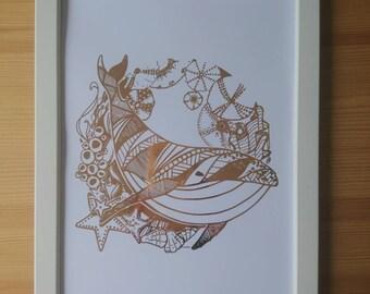 Gold foil print whale A4