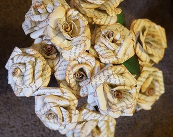 Handmade Antique Paper Roses - Harry Potter book pages!